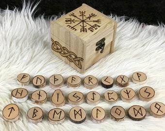 Viking Runes - Vegvisir - Rune Set with Box - Norse Runes - Elder Futhark Runes - Asatru Runes - Divination Runes - Odin Runes - Gift Runes