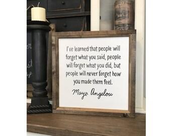 Maya Angelou 16 x 16 Wood Framed Canvas Sign