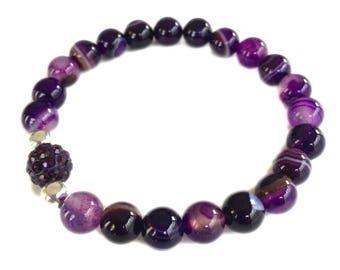 Purple Stripe Agate Bracelet