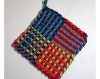 Multi Color Hand Woven Large Cotton Potholder No.9