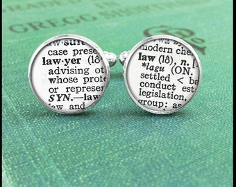 Lawyer Cufflinks, Lawyer and Law Dictionary, Law Cufflinks, Dictionary Cufflinks, Gift for Lawyer, Webster Dictionary, Dictionary Jewelry
