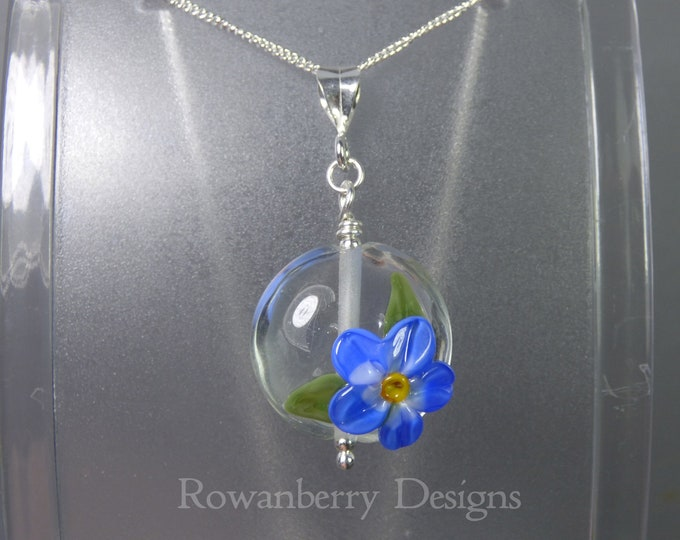 Featured listing image: Forget-Me-Not Pendant and Chain - Art Nouveau Handmade Lampwork Glass & 925 Sterling Silver - Rowanberry Designs SRA - Art- FMNP1