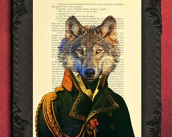 wolf print, lieutenant wolf wall art, wolf home decor, animal portrait wolf decorations for living room