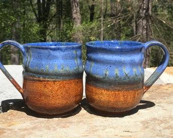 Ceramic Mug, Cobalt Blue and Pine Brown