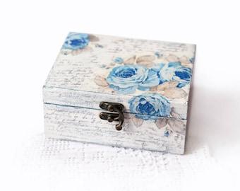 Handmade Jewelry Storage Box Decoupage Shabby Chic White Home Decor Box With Blue Vintage Roses