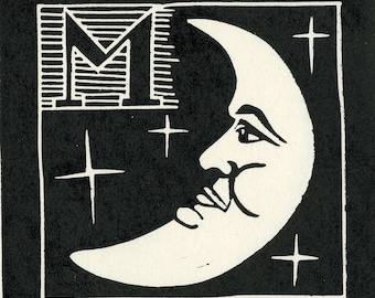 Linocut relief print ,M is for Moon,open edition original hand pulled print