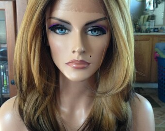 Free Shipping - French Lace Front Wig - 100% Human Blend - Ombre with Golden Blonde and Dark Brown Bottom - Layered - Straight Styled