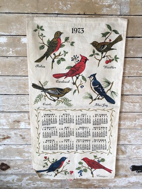 Vintage 1973 Linen Calendar Wall Hanging Birds