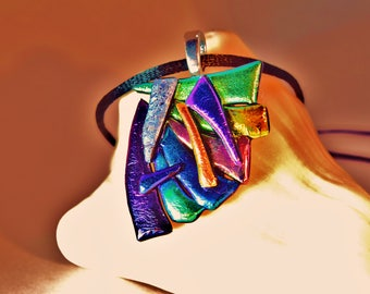 Dichroic art glass fused pendant or brooch