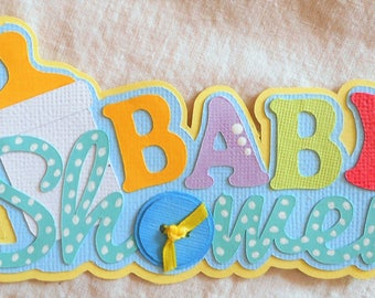 Handmade Baby Shower Title Embellishment Die Cut 4 Cards Scrapbook Pages  Elite4u