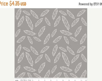 Summer Clearance By Popular Demand Feathers in Gray - Half Yard