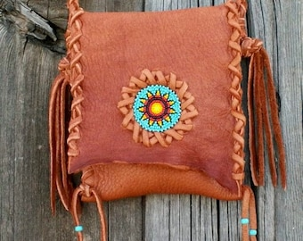 Small leather bag with beadwork ,  Phone bag , Leather crossbody tote with beaded sunflower rosette