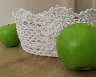 Crocheted White Doily Bowl Home Decor| Doily Bowl |  Doily | Doily Basket | Crochet Basket, Crochet Bowl | Handmade Basket, Gift Basket