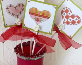 Bless Your Heart Cupcake Toppers - Heart to Heart - Party Sticks - Set of Four {4} - Original Art and Design by Suzanne MacCrone Rogers