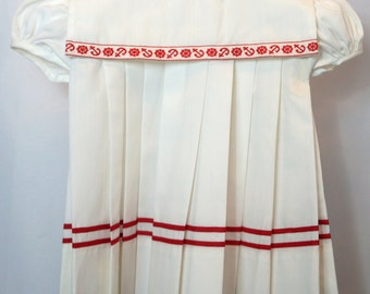 Vintage Girls Sailor Dress in White with Red Nautical Trim- Size 12 months- New, never worn
