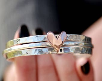 Copper Sweetheart Bangle Bracelets, Set Of 3 Bangles, Sterling Silver Bangle, Womens Bangles, Heart Bracelet, Love Bangles, Hammered Silver