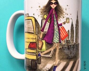 Tabitha Taxi, Coffee Mug, Fashion illustration, Bella Pilar, Fashion mug