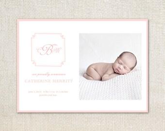 Pink monogram Baby Birth Announcements
