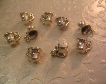 9 Tea Cup Silver Charms Jewelry Supplies