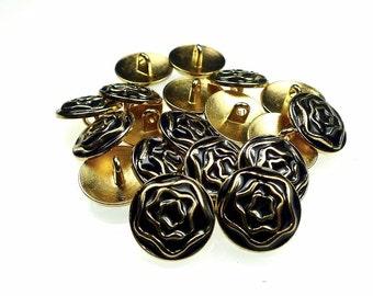 Enamel metal buttons, black flowers