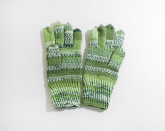 Hand Knitted Gloves, Knit Winter Gloves - Green Gloves, Size Large