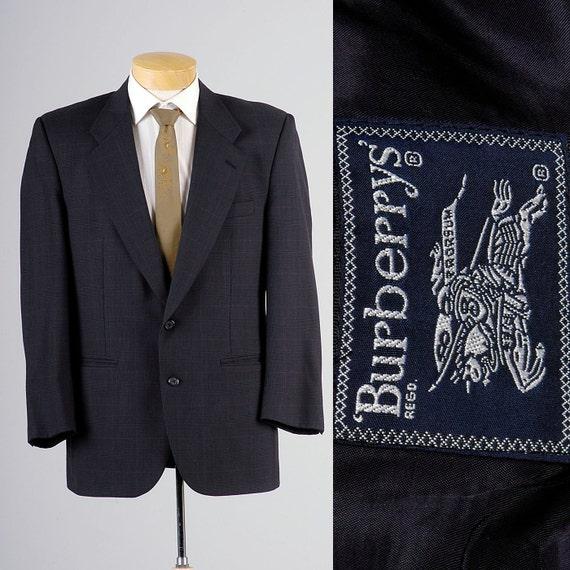 Designer Jacket Burberry Navy Prorsum Burberrys 40R Mens Vintage 40 Sportcoat Plaid Blue 80s wIC8F