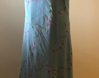 Vintage NOW Blue Slip Dress Maxi  Midi dress Floral Pattern