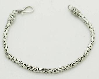 """Solid Vintage Sterling Silver/925 3mm Byzantine Link Bracelet-7""""; sku # 3107"""