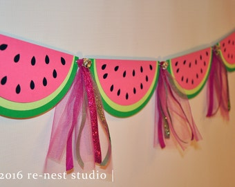 watermelon sparkle party banner - one in a melon birthday/birthday party/first birthday/party decoration/custom party banner/pink and green