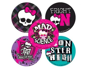 "5 Monster High Stickers 2.5"" Round Mods mad science skull with bow"