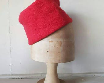 Red Boucle Vintage Hat