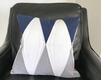 Modern Navy & Gray Diamond Pillow Cover | Geometric Graphic Throw Pillow Cover | Quilted Pillow Cover