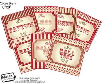 Rustic CIrcus & Carnival Party Signs