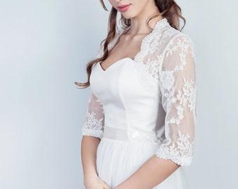 Lace wedding bolero, 3/4 sleeves bridal bolero, wedding lace jacket
