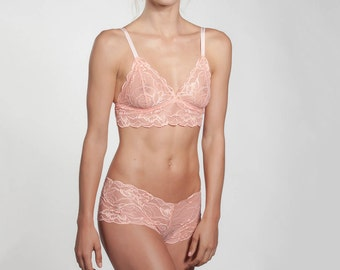 Coral lingerie set - Longline Bralette - French Knickers - French Lace - see through lingerie - orange bra - sheer bra - romantic lingerie