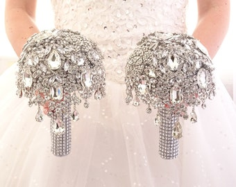 Full jeweled bridesmaids bouquets. Silver bling crystal brooch bouquet. Custom colour