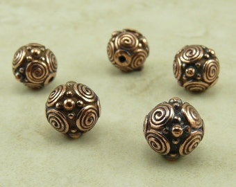 5 TierraCast 8mm Spiral Circles Beads > Swirl Celtic Zen Doodle Bali Style - Copper Plated Lead Free Pewter - I ship Internationally 5642