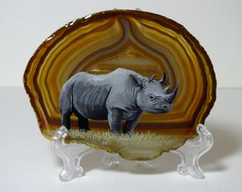 Rhino painting on agate