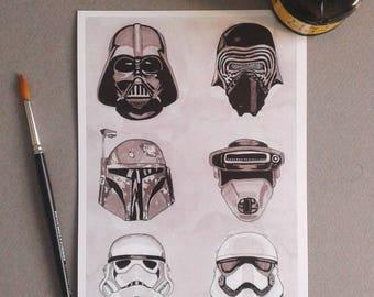Mask-InkTober 2017-Signed Art Print Limited edition 10 units