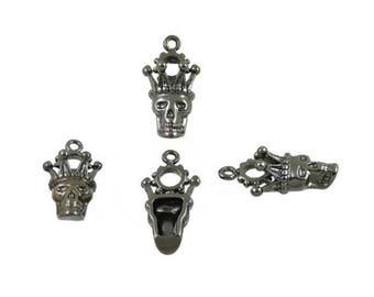 10 pcs.Zinc Gunmetal King Skeleton King Skull Crown Head Charms Pendants Decorations Findings 14x28 mm. SK 304