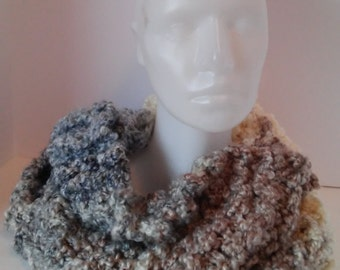 Variegated brown, blue/gray and cream handknit  bulky  cowl-warm chunky cowl- double strand handknit chunky cowl-warm winter cowl