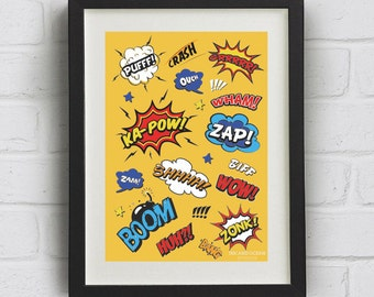 Cartoon Comic, Pop Art Print. Downloadable Art Print in yellow