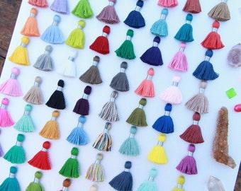 "Mini Jewelry Tassels With SILVER Binding, Pantone Colors, Handmade 1.25"" Cotton Tassel Pendants, Yoga Mala, Boho, You Choose Colors, 10+"