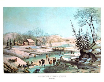 American Winter Scenes (Morning), The Farmyard in Winter - 1968 Vintage Currier and Ives Book Page - 12 x 9