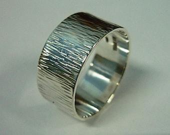 10 mm. Tree Bark Ring, Rustic Wedding Band Ring, Plain Band Ring, Hammered Ring, Textured Ring, Silver Tree Wedding Ring, Sterling Silver