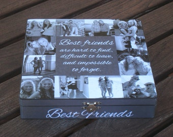 Best Friends Photo Collage Keepsake Box, Unique Maid of Honor Gift, Personalized Sister Gift, Custom Photo Collage, Unique Birthday Gift