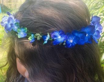 Royal Blue Flower Crown Bridesmaid Headpiece Flower Girl Headband Boho Festival Floral Hair Wreath Halo