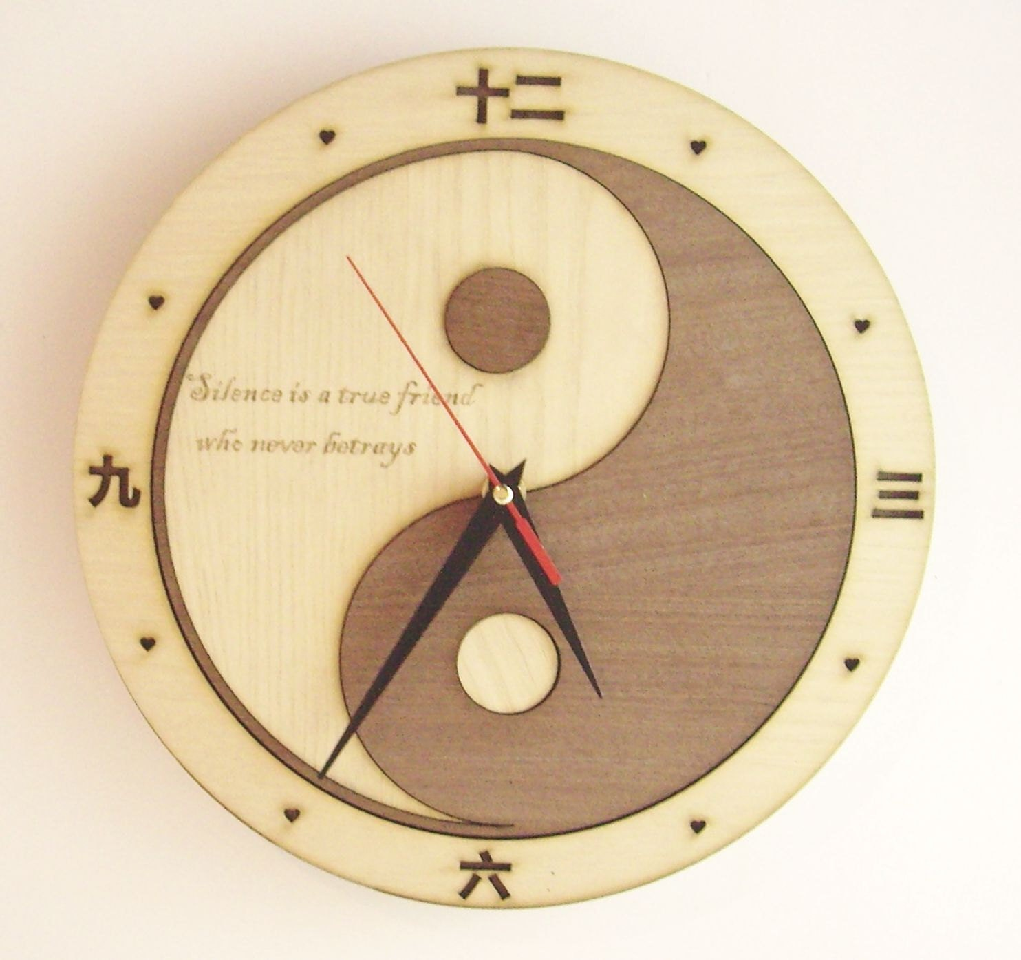Wooden wall clock YIN-YANG engrave your text