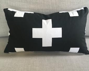 Swiss Cross Pillow | Plus Sign Pillow Cover, Pillow Case, Black & White Pillow, Swiss Cross, Lumbar, Throw Pillow, Home Decor, Toss Pillow