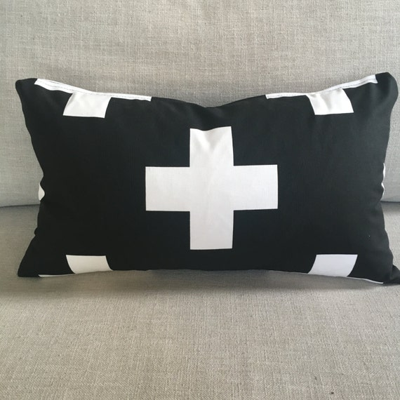 Swiss Cross Pillow | Plus Sign Pillow Cover, Pillow Case, Black & White Pillow, Swiss Cross, Lumbar, Throw Pillow, Home Decor, Toss Pillow